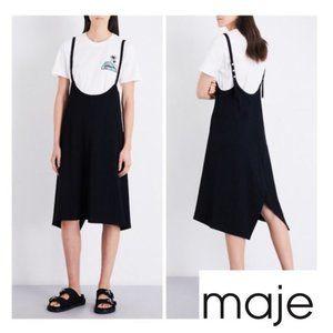 maje Rabana Asymmetrical Twill Dress Black Medium
